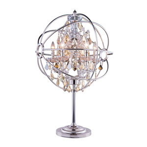 Geneva Polished Nickel Twenty-Two-Inch Table Lamp with Golden Teak Crystals