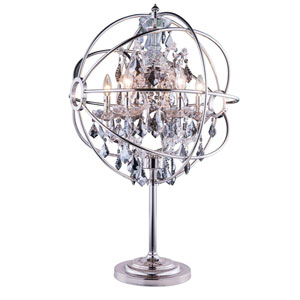 Geneva Polished Nickel Twenty-Two-Inch Table Lamp with Silver Shade Crystals