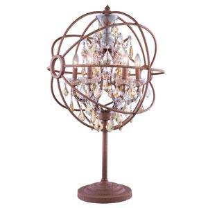 Geneva Rustic Intent Twenty-Two-Inch Table Lamp with Golden Teak Crystals