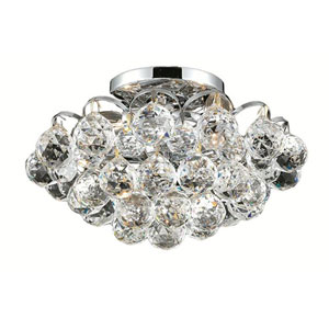 Godiva Chrome Four-Light 12-Inch Flush Mount with Royal Cut Clear Crystal
