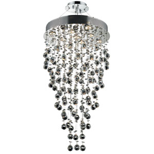 Galaxy Chrome Nine-Light 20-Inch Semi Flush Mount with Royal Cut Clear Crystal