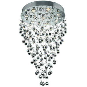 Galaxy Chrome Eight-Light 24-Inch Semi Flush Mount with Royal Cut Clear Crystal