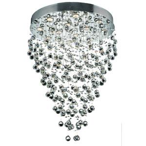 Galaxy Chrome Twelve-Light 28-Inch Semi Flush Mount with Royal Cut Clear Crystal