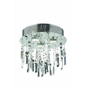 Galaxy Chrome Three-Light Flush Mount with Royal Cut Crystal and Prism Drops