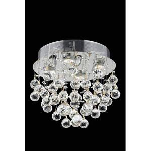 Galaxy Elegant Cut Crystal Chrome Four Light 14-in Flush Mount Fixture
