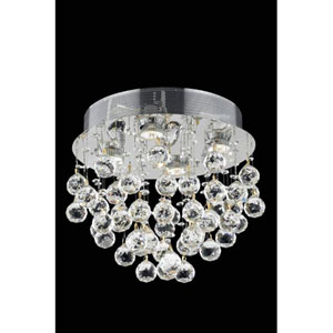 Galaxy Swarovski Strass Crystal Chrome Four Light 14-in Flush Mount Fixture