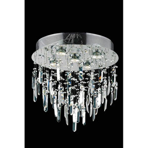 Galaxy Elegant Cut Crystal Chrome Five Light 16-in Flush Mount Fixture