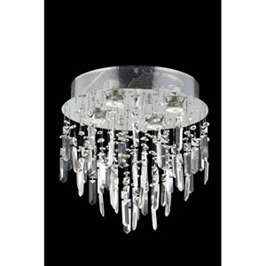 Galaxy Spectra Crystal Chrome Four Light 14-in Flush Mount Fixture