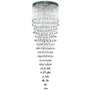 Galaxy Chrome Sixteen-Light 32-Inch Semi Flush Mount with Royal Cut Clear Crystal