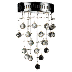 Galaxy Chrome Three-Light 12-Inch Semi Flush Mount with Royal Cut Clear Crystal