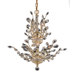 Orchid Gold Eight-Light 21-Inch Chandelier with Royal Cut Clear Crystal