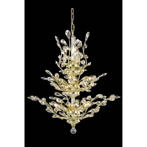 Orchid Gold 13-Light Chandelier with Golden Shadow Royal Cut Crystal