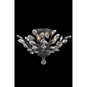 Orchid Dark Bronze Four-Light Flush Mount with Royal Cut Crystal