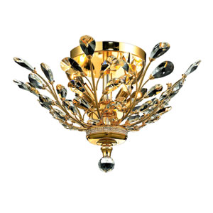 Orchid Gold Four-Light 20-Inch Flush Mount with Royal Cut Clear Crystal