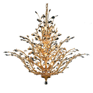 Orchid Gold Eighteen-Light 41-Inch Chandelier with Royal Cut Clear Crystal