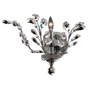 Orchid Chrome One-Light 16-Inch Wall Sconce with Royal Cut Clear Crystal