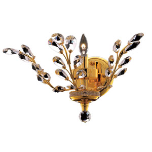 Orchid Gold One-Light 16-Inch Wall Sconce with Royal Cut Clear Crystal