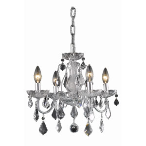 St. Francis Chrome Four-Light Chandelier with Clear Royal Cut Crystals