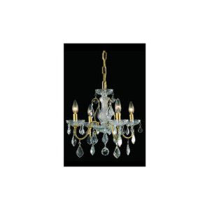 St. Francis Gold Four-Light Chandelier with Clear Elegant Cut Crystals