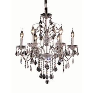 St. Francis Chrome Six-Light 24-Inch Chandelier with Royal Cut Clear Crystal