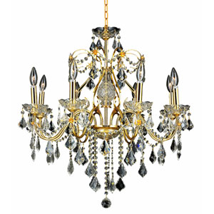 St. Francis Gold Eight-Light 26-Inch Chandelier with Royal Cut Clear Crystal