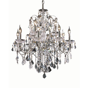 St. Francis Chrome Twelve-Light 28-Inch Chandelier with Royal Cut Clear Crystal