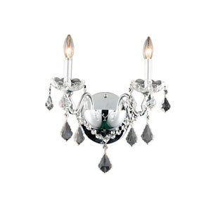 St. Francis Chrome Two-Light Wall Sconce with Royal Cut Crystal