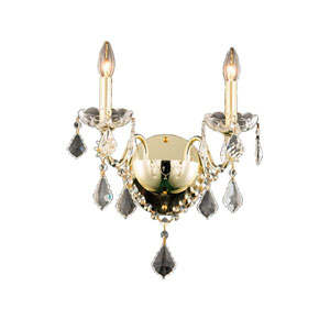St. Francis Gold Two-Light Wall Sconce with Royal Cut Crystal