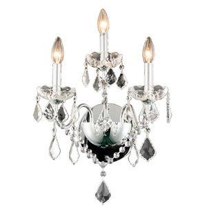 St. Francis Chrome Three-Light Wall Sconce with Royal Cut Crystal