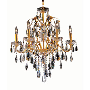 St. Francis Gold Six-Light 24-Inch Chandelier with Royal Cut Clear Crystal