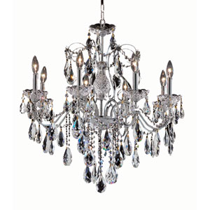 St. Francis Chrome Eight-Light 26-Inch Chandelier with Royal Cut Clear Crystal