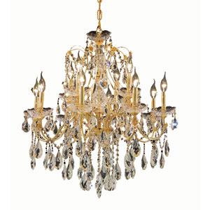 St. Francis Gold Twelve-Light 28-Inch Chandelier with Royal Cut Clear Crystal