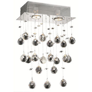 Galaxy Chrome Two-Light 12-Inch Semi Flush Mount with Royal Cut Clear Crystal and Square Canopy