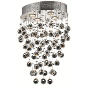 Galaxy Chrome Four-Light 11.5-Inch Semi Flush Mount with Royal Cut Clear Crystal and Round Canopy
