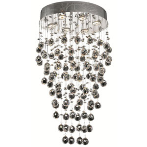 Galaxy Chrome Six-Light 14-Inch Semi Flush Mount with Royal Cut Clear Crystal and Round Canopy
