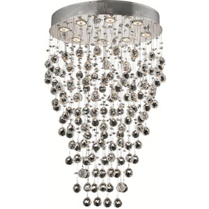 Galaxy Chrome Eight-Light 16-Inch Semi Flush Mount with Royal Cut Clear Crystal and Round Canopy