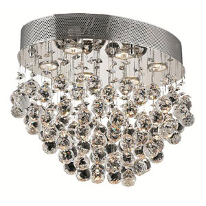 Galaxy Chrome Six-Light 14-Inch Flush Mount with Royal Cut Clear Crystal