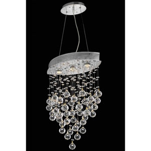 Galaxy Chrome Three-Light Chandelier with Clear Royal Cut Crystals