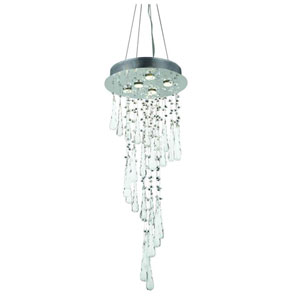 Comet Royal Cut Crystal Chrome Five Light 36-in Chandelier
