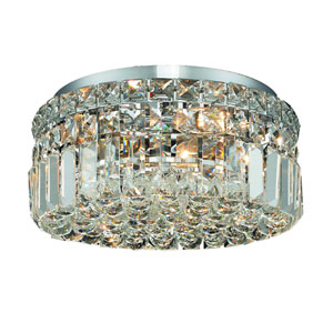 Maxim Chrome Four-Light 12-Inch Flush Mount with Royal Cut Clear Crystal
