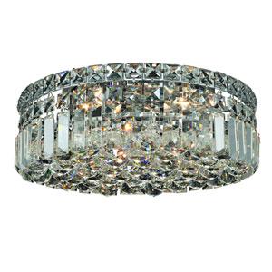 Maxim Chrome Four-Light 14-Inch Flush Mount with Royal Cut Clear Crystal