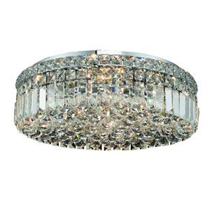 Maxim Chrome Six-Light 20-Inch Flush Mount with Royal Cut Clear Crystal