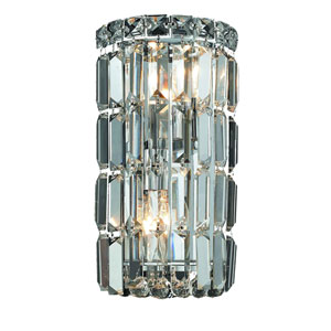 Maxim Chrome Two-Light 6-Inch Bath Fixture with Elegant Cut Clear Crystal