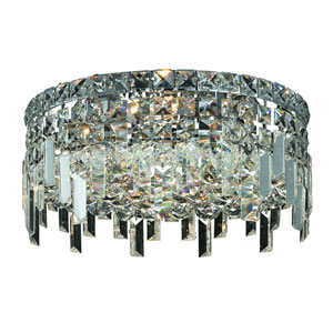 Maxim Chrome Four-Light 14-Inch Flush Mount with Royal Cut Clear Crystal