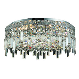 Maxim Chrome Six-Light 20-Inch Flush Mount with Royal Cut Clear Crystal