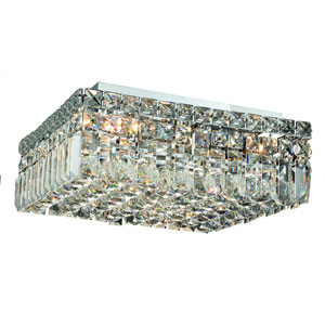Maxim Chrome Five-Light 14-Inch Flush Mount with Royal Cut Clear Crystal