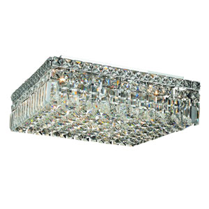 Maxim Chrome Six-Light 16-Inch Flush Mount with Royal Cut Clear Crystal