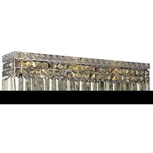 Maxim Chrome Six-Light Bath Fixture with Royal Cut Golden Teak Smoky Crystal