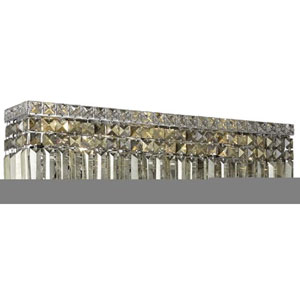 Maxim Chrome Six-Light Sconce with Golden Teak/Smoky Royal Cut Crystals