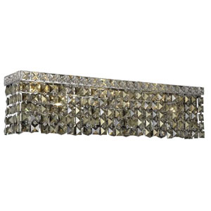 Maxim Chrome Four-Light Sconce with Golden Teak/Smoky Royal Cut Crystals